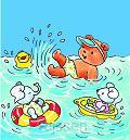 Dubbele kaart 12x12 bobbi aan het zwemme